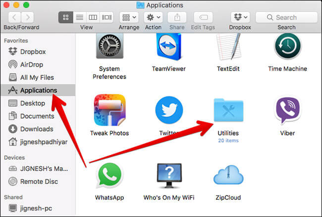 Click on Utilities Under Application on Mac