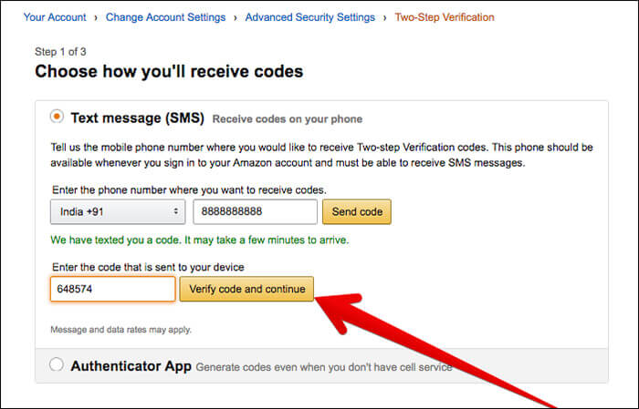 Click on Verify code and continue in Amazon