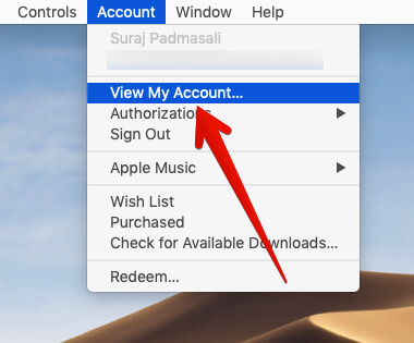 Click on View My Account Under Account in iTunes