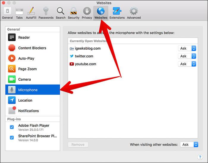 Click on Websites then Microphone in Safari Settings on Mac Running macOS High Sierra