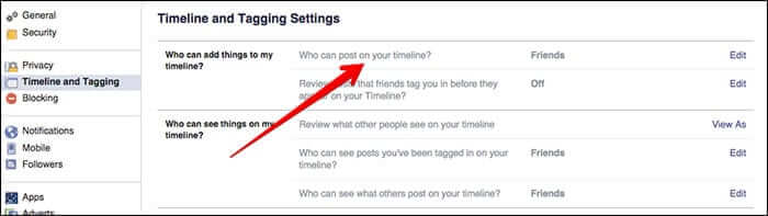 Click on Who Can Post on Your Timeline in Facebook