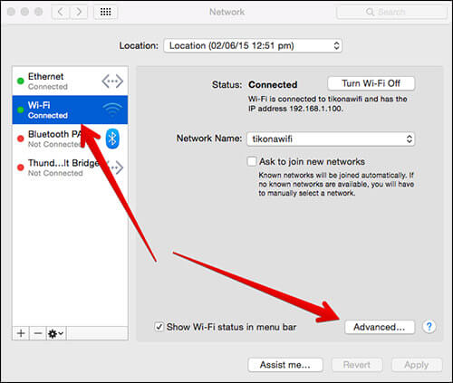 Click on Wi-Fi Networks Then Advanced in Network Settings on Mac