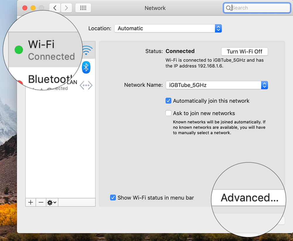 Click on Wi-Fi then Advanced in Mac System Preferences