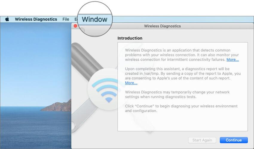 Click on Window on macOS Wireless Diagnostics Menu bar