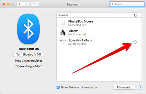 Click on X in Bluetooth Preferences on Mac