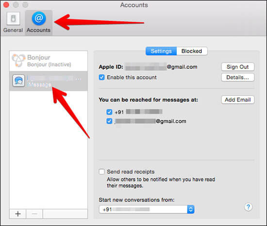 Click on Your Apple ID in iMessage App in Mac