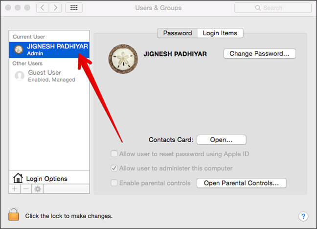 Click on Your Name in Users & Groups in Mac System Preferences