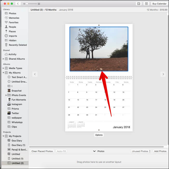 Click on a picture and drag your cursor in Calendar on Mac Photos App