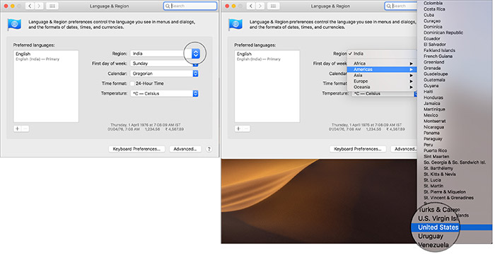 Click on drop down menu and select United States in Mac Language & Region