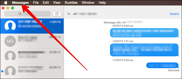 Click on iMessages from Main Menu on Mac