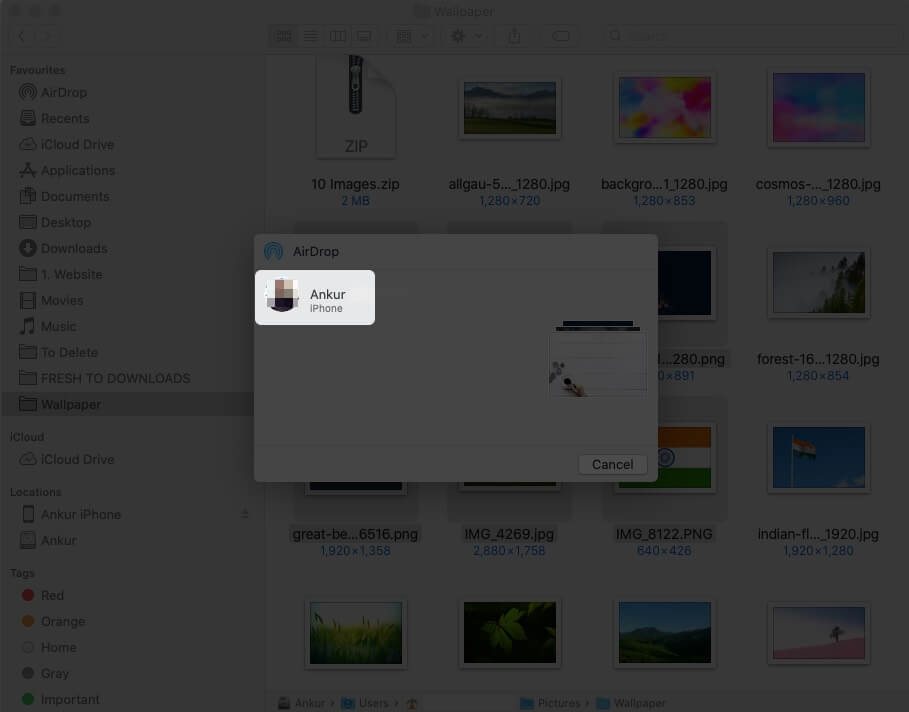 Click on iPhone Name on Mac
