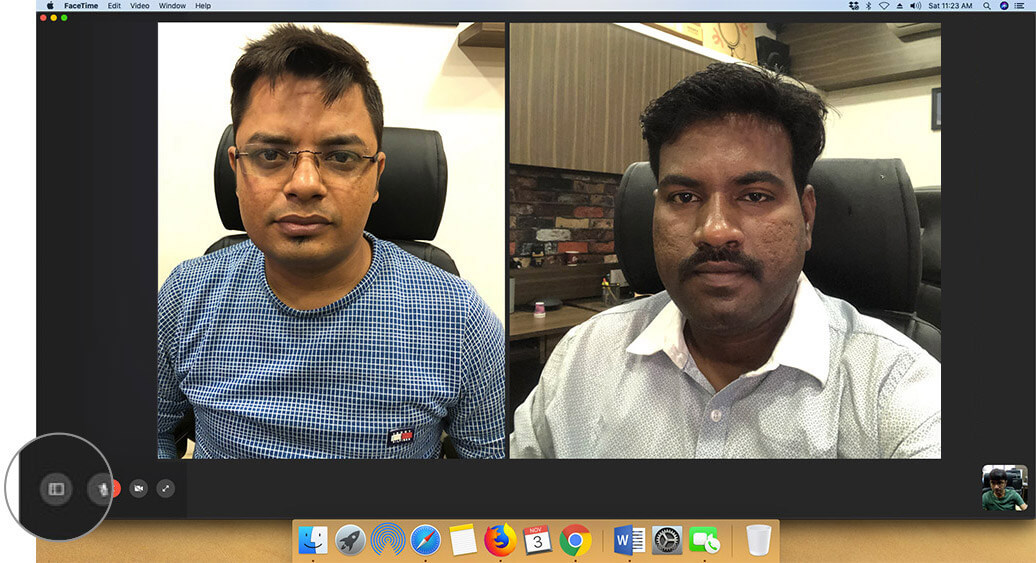 Click on sidebar button in Group FaceTime Calls on Mac