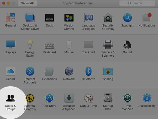 Click on the Apple Menu, System Preferences then User & Groups