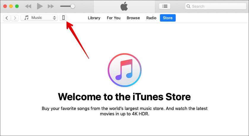 Click on tiny device icon in iTunes