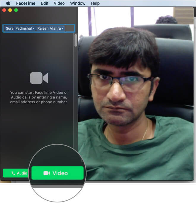 Click on video button to start FaceTime call on Mac