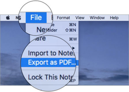 Click the File menu and select Export as PDF on Mac Notes App
