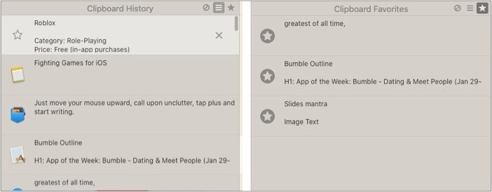 Clipboard favorites and history in Unclutter Mac app