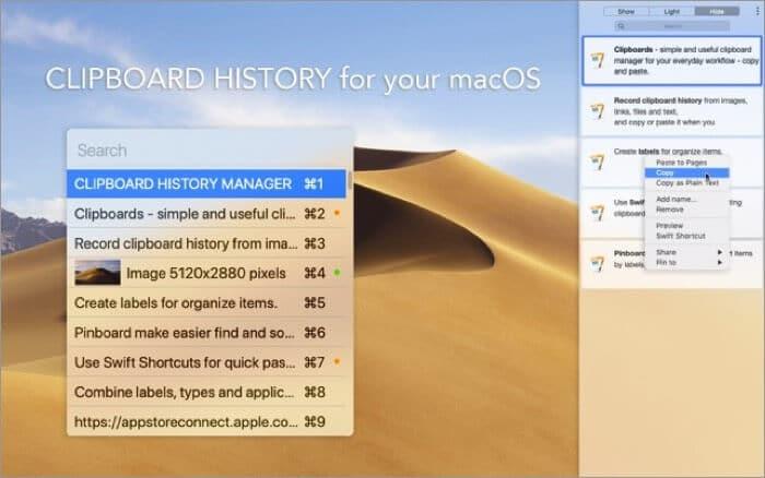 Clipboards Mac App Screenshot