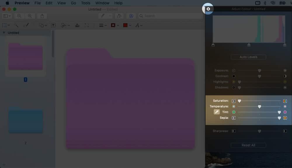 Close Adjust Color Pop-up in Mac Preview