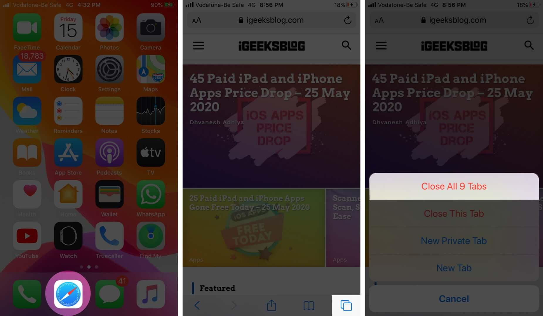 Close Multiple Safari Tabs at Once on iPhone