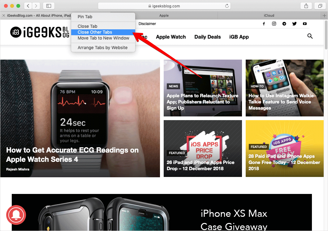 Close Other Tabs Except Current One in Safari on Mac
