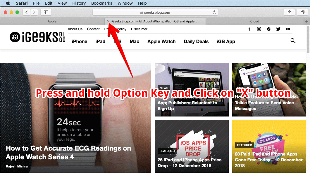 Close Other Tabs Except Existing Tab in Safari on Mac
