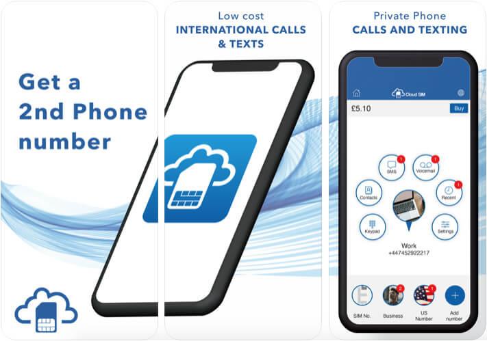 Cloud SIM Second Phone Number iPhone App Screenshot