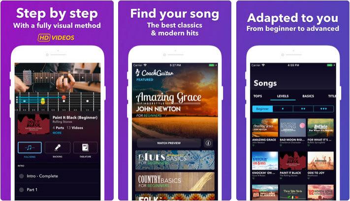 Coach Guitar chords tuner tabs iPhone and iPad App Screenshot