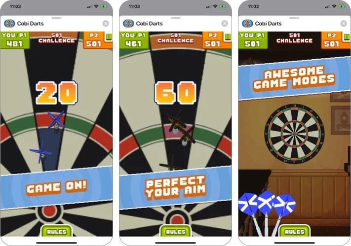 Cobi Darts iMessage Game App Screenshot