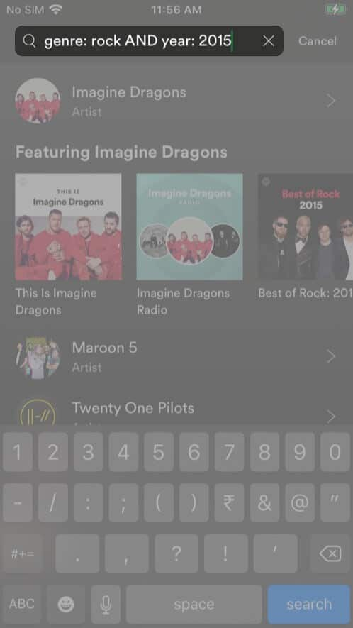 Combine searchesin Spotify app on iPhone