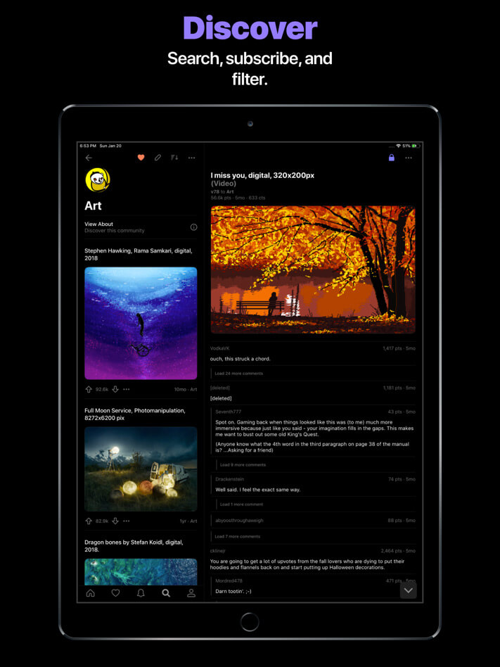 Comet for reddit iPad App Screenshot