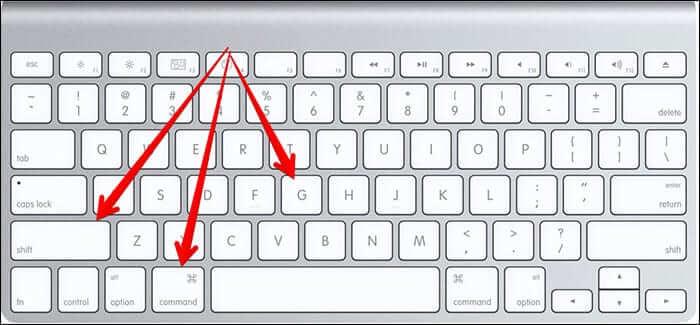 Command, Shift, G Keyboard Combination in Mac