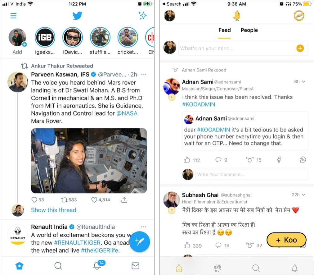 Comparison between Koo and Twitter's interface