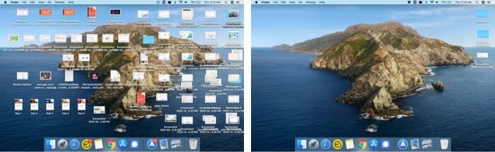 Comparison of desktop view on Mac