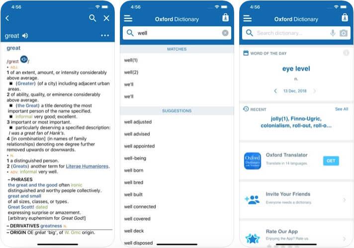 Concise Oxford Dictionary iOS Thesaurus App Screenshot