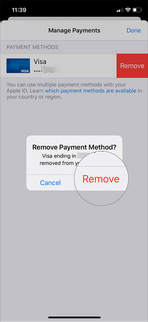 Confirm Action to Remove Credit Card from Apple ID on iOS Device