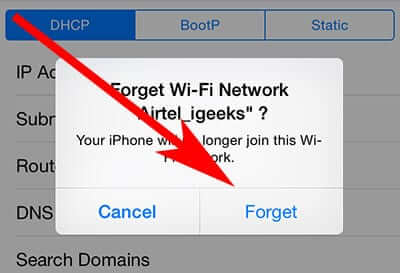 Confirm Forget Wifi Network on iPhone