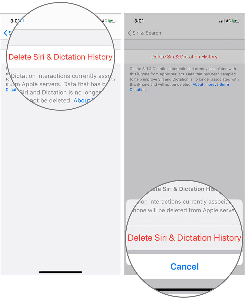 Confirm Request by Tapping on Delete Siri and Dictation History in iOS 13 Device