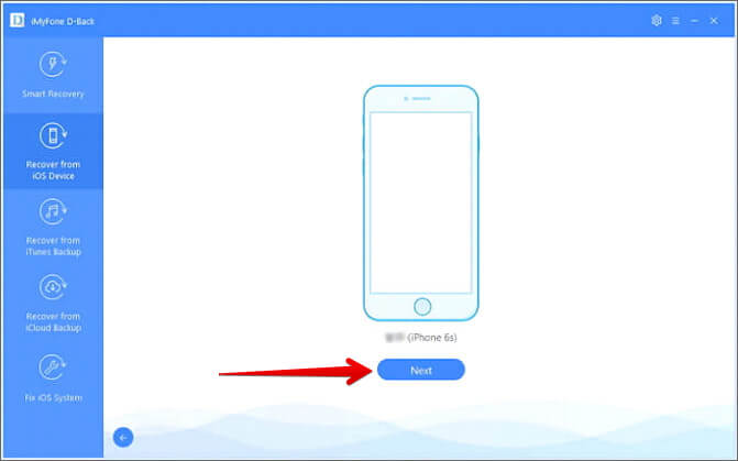 Connect Your iPhone and Click on Next in iMyFone D-Back Software on Mac