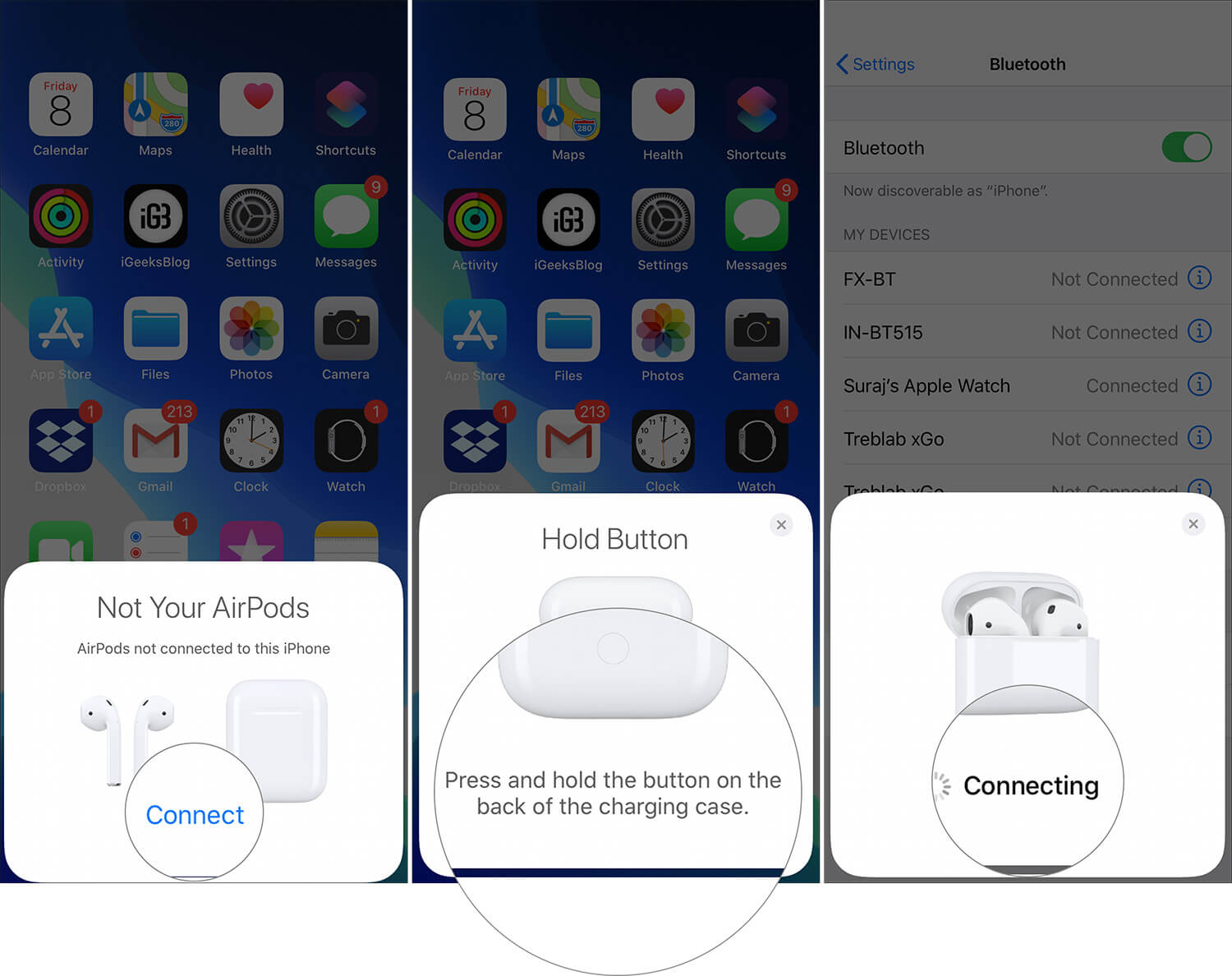 Connect and Press Hold setup button to pair AirPods with iPhone