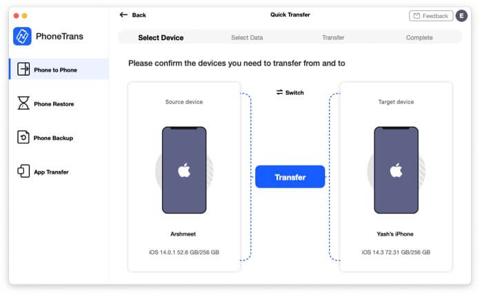 Connect both devices to Mac then select Phone to Phone in PhoneTrans App