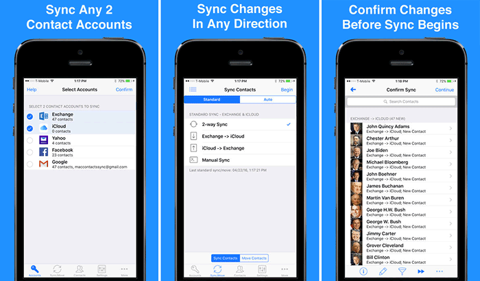Contact Mover and Account Sync iPhone App Screenshot