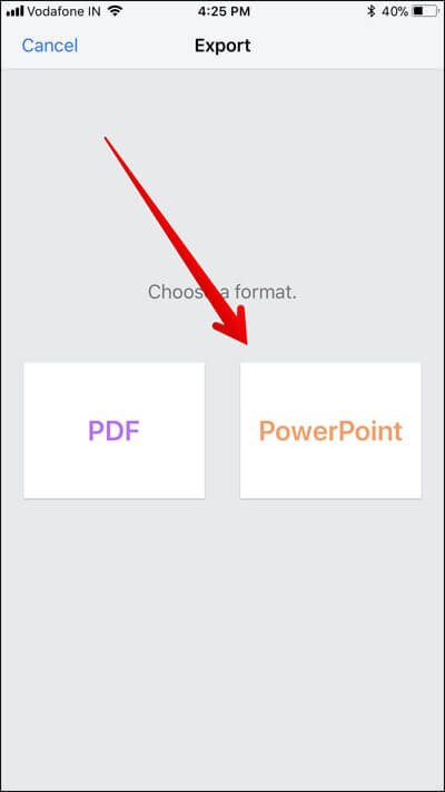 Convert A Keynote Presentation to PowerPoint on iPhone