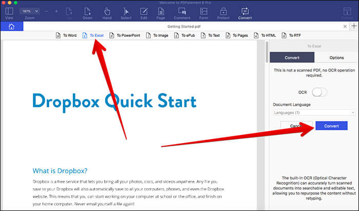 Convert PDF File to Excel in PDFelement