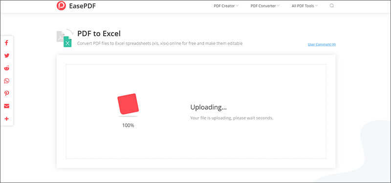 Convert PDF Files to Excel Using EasePDF