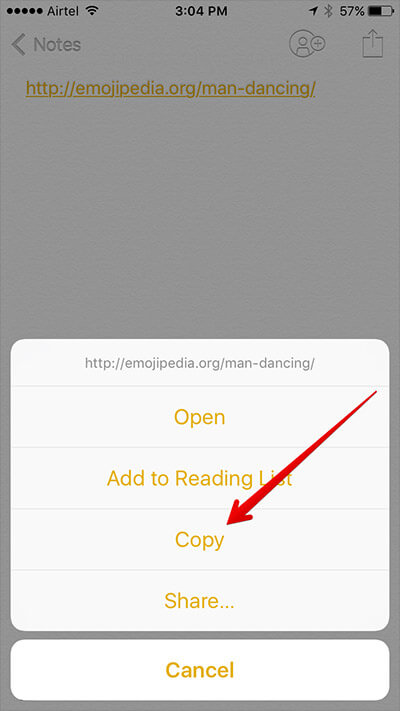 Copy Emojipedia URL from iPhone Notes App