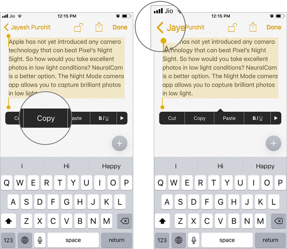 Copy Note and Tap on Back to Exit from Locked Note on iPhone