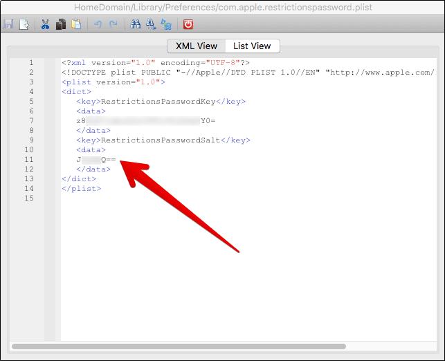 Copy Restriction Password Salt in iBackupBot on Mac