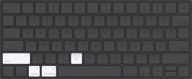 Copy and paste using Mac keyboard shortcuts