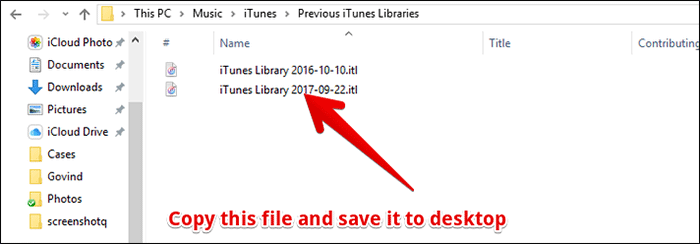 Copy iTunes Library File and Paste it to Desktop on Windows PC
